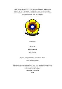 Analisis Laporan Keuangan Untuk Menilai Kinerja Perusahaan Pada Pt Pln Persero Wilayah Sumatera Selatan Jambi Dan Bengkulu Sriwijaya University Repository