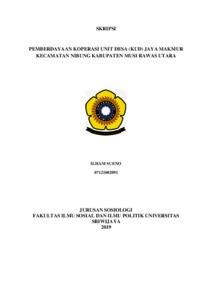Pemberdayaan Koperasi Unit Desa Kud Jaya Makmur Kecamatan Nibung Kabupaten Musi Rawas Utara Sriwijaya University Repository