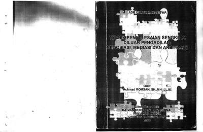 Teknik Penyelesaian Sengketa Diluar Pengadilan Negosiasi Mediasi Dan Arbitrase Sriwijaya University Repository